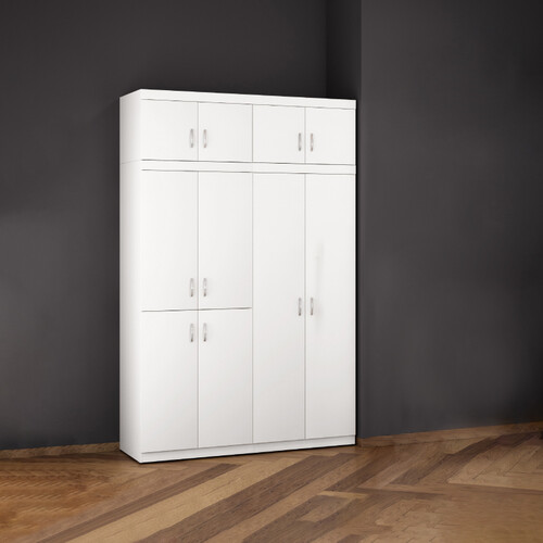 10 Doors Melamine Wardrobe KF9228T-10D (White)