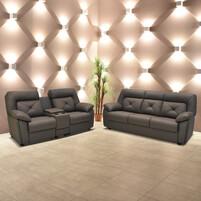 Half Genuine Leather Sofa Set 153