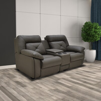 Half Genuine Leather 2 Seater Sofa With Box 153