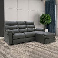 Half Leather L-Shaped with Recliner Sofa 9017