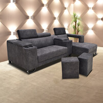 Velvet Fabric L-Shaped Sofa With Bar Storage & Cup Holder & Two Stool 6512 (CHARCO)