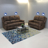 Velvet Fabric 2+3 Seater With 4 Recliner Sofa LVN5020 (Brown)