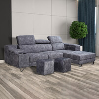 Velvet Fabric L-Shaped Sofa With Bar Storage & Cup Holder 999