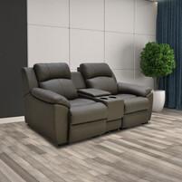 Half Genuine Leather 2 Seater Sofa With Box 159