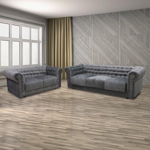 Velvet Fabric Chesterfield Sofa Set MANCHESTER